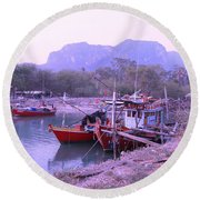 Thai Fishing Boats 05 Round Beach Towel