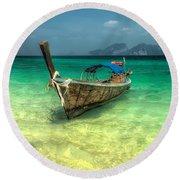 Thai Longboat  Round Beach Towel