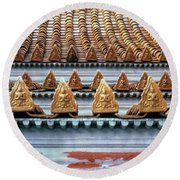 Thai Temple Roof Round Beach Towel
