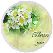 Thank You Card - Multiflora Roses Round Beach Towel