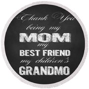Thank You Mom Chalkboard Typography Round Beach Towel