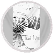 Thank You Seashell Round Beach Towel