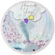 Thank You - Whale  Round Beach Towel