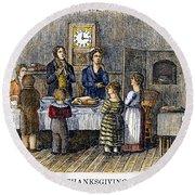 Thanksgiving, 1853 Round Beach Towel