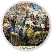 Thanksgiving Cartoon, 1869 Round Beach Towel