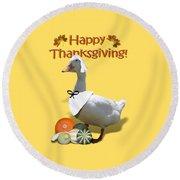 Thanksgiving Pilgrim Duck Round Beach Towel