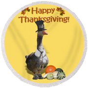 Thanksgiving Pilgrim Goose Round Beach Towel