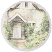 Thatched Cottage Round Beach Towel