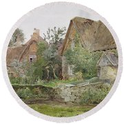 Thatched Cottages And Cottage Gardens Round Beach Towel by John Fulleylove