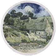 Thatched Cottages At Cordeville Round Beach Towel