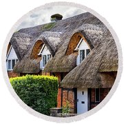 Thatched Cottages In Chawton 2 Round Beach Towel