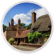 Thatched Cottages In Chawton 6 Round Beach Towel