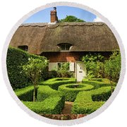 Thatched Cottages In Chawton 7 Round Beach Towel