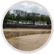 Thatched Cottages In Dunmore East Ireland  Round Beach Towel
