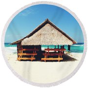 Thatched Roof Cottage/shack On A Perfect White Sand Tropical Beach Bali, Indonesia Round Beach Towel