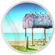 Thatched Roof Hut On Beach Round Beach Towel