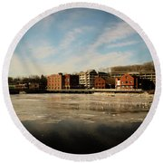 Thawing Saugatuck  Round Beach Towel