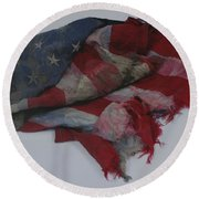 The 9 11 W T C Fallen Heros American Flag Round Beach Towel