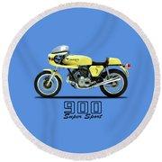 The 900 Super Sport 1977 Round Beach Towel by Mark Rogan