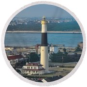 The Absecon Lighthouse In Atlantic City New Jersey Round Beach Towel