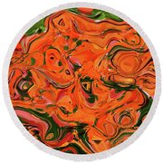 The Abstract Days Of Autumn Round Beach Towel