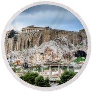 The Acropolis - Athens Greece Round Beach Towel