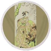 The Actor Segawa Kikunojo II As The Courtesan Maizuru In The Play Furisode Kisaragi Soga Round Beach Towel