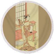 The Actor Segawa Kikunojo II, Possibly As Princess Ayaori In The Play Ima O Sakari Suehiro Genji  Round Beach Towel