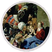 The Adoration Of The Kings Round Beach Towel by Fray Juan Batista Maino