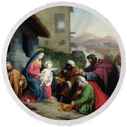 The Adoration Of The Magi Round Beach Towel by Jean Pierre Granger