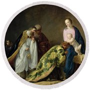 The Adoration Of The Magi Round Beach Towel by Pieter Fransz de Grebber