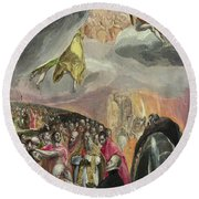 The Adoration Of The Name Of Jesus Round Beach Towel