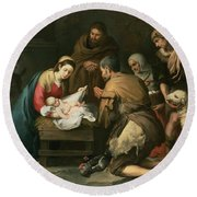 The Adoration Of The Shepherds Round Beach Towel by Bartolome Esteban Murillo