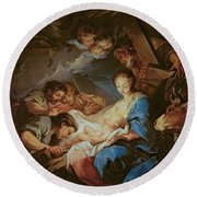 The Adoration Of The Shepherds Round Beach Towel by Charle van Loo