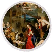 The Adoration Of The Shepherds Round Beach Towel by Fray Juan Batista Maino or Mayno