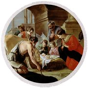 The Adoration Of The Shepherds Round Beach Towel by Louis Le Nain