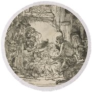 The Adoration Of The Shepherds: With The Lamp Round Beach Towel