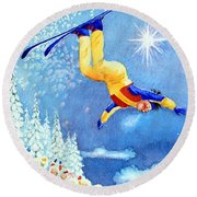 The Aerial Skier 18 Round Beach Towel