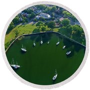 The Aerial View Of The Marina Of Mamaroneck Round Beach Towel