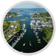 The Aerial View To The Mamaroneck Marina, Westchester County Round Beach Towel