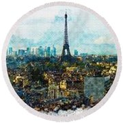 The Aesthetic Beauty Of Paris Tranquil Landscape Round Beach Towel