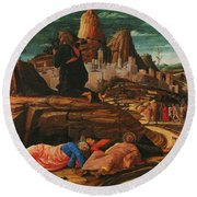 The Agony In The Garden 1455 Round Beach Towel