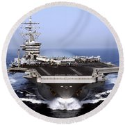 The Aircraft Carrier Uss Dwight D Round Beach Towel by Stocktrek Images
