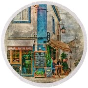 The Albar Coffee Shop In Alvor. Round Beach Towel