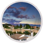 The Alhambra Palace And Albaicin At Sunset Round Beach Towel