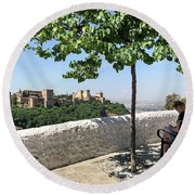 The Alhambra From Sacromonte Round Beach Towel