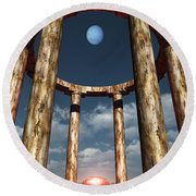 The Aligning Of Neptune Round Beach Towel by Richard Rizzo