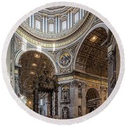 The Altar And Dome In St Peter's Basilica Round Beach Towel