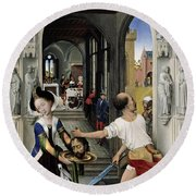 The Altar Of St. John, Right Panel Round Beach Towel