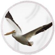 The Amazing American White Pelican Round Beach Towel